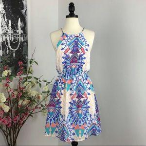 Everly Aztec Geometric Print Halter Dress